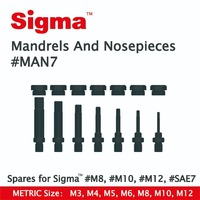 Sigma #MAN7 Spare Mandrels/Nosepieces set ONLY applicable for Sigma Threaded Rivet Nut Drill Adapters #M6 #M8 #M10 #M12 #SAE7