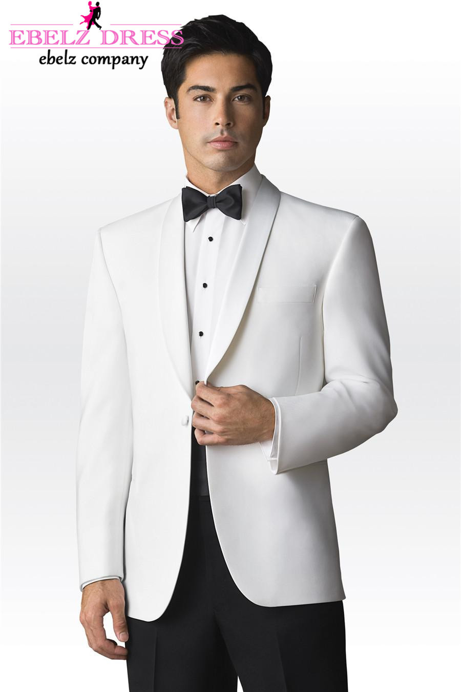 White tuxedos can be worn to a variety of formal events including weddings, proms, cruises, dinners, galas and list goes on and on! Matching white pants can be worn with some styles, but many gentlemen opt to go with the contrasting black pants to accompany the white jacket. Subtle variations include full black satin lapels, black trim lapels and also subtle black accents on the pockets.