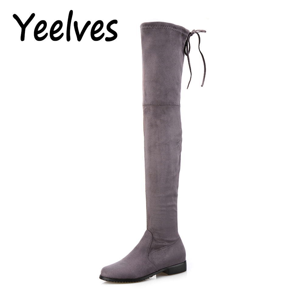 Thigh High Boots Female Winter Boots Women Over the Knee Boots Flat Stretch Sexy Fashion Shoes 2018 Black Dark Gray Wine Brown