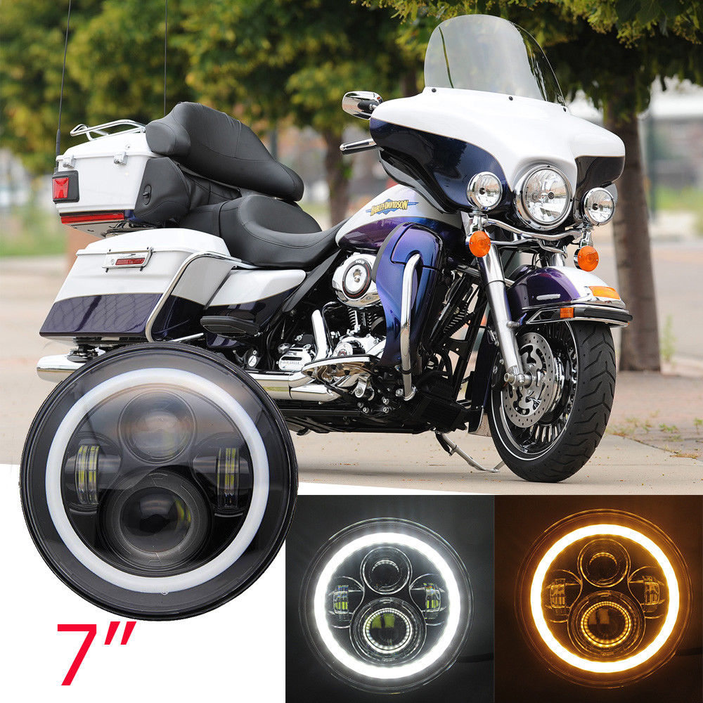 "Image 2 - 7"" Inch H4 LED Headlight For Harley Davidsion Softail Slim Fat Boy 7inch Halo Angel Eye DRL Led Motorcycle Headlamp    -"