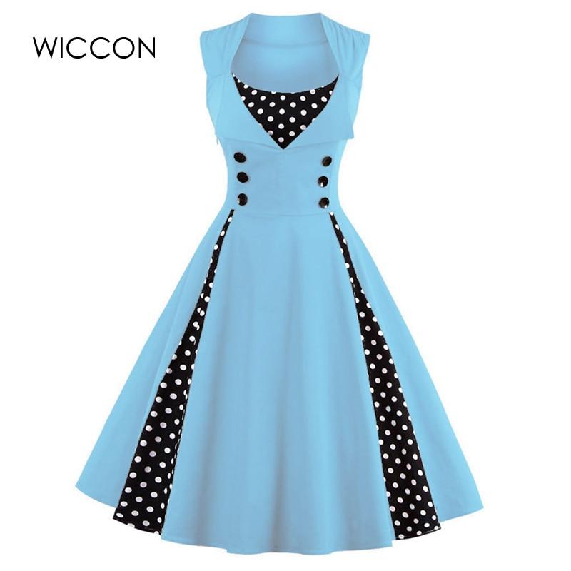WICCON Vintage Sweet Women Dress Ärmlös Polka Dot 2018Summer Party - Damkläder - Foto 1
