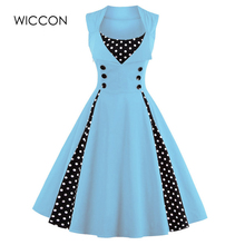 WICCON Vintage Sweet Γυναίκες Φόρεμα Αμάνικο Polka Dot 2018Summer Φόρεμα Party Evening Vestido Κομψή Κυρίες Μια Γραμμή Plus Μέγεθος 5XL