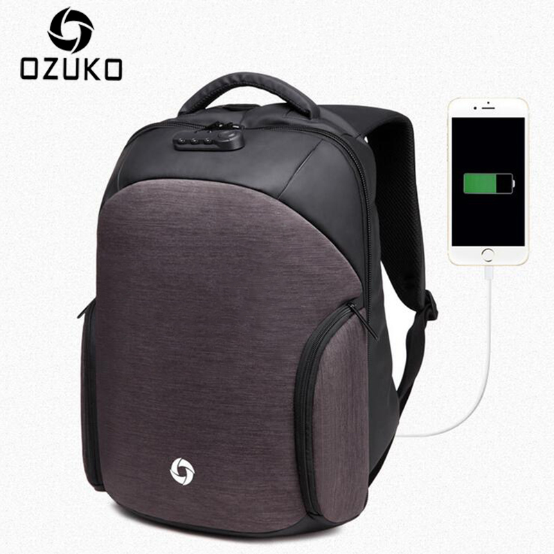OZUKO Men's Backpacks Anti-theft Backpack Multifunction Business Travel USB Charging Laptop Backpack Mochila Casual School bags men s backpack anti theft usb charging travel backpack waterproof nylon unisex school bags for female laptop business backpack