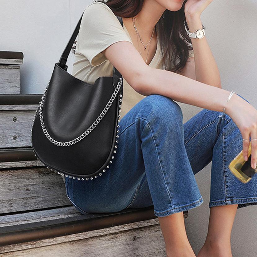 Frauen Handtasche Vintage Nieten Leder Reine Farbe Schulter Taschen Pu Leder Corssbody Tasche 2019 Mode Klappe Mini Messenger Taschen