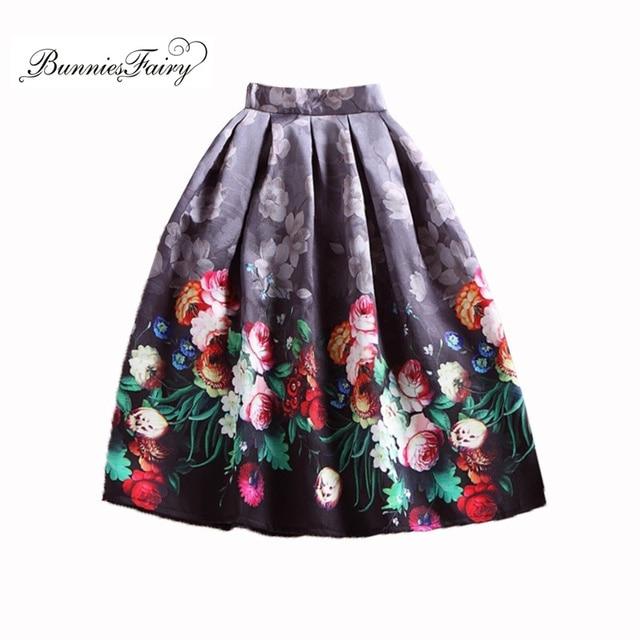 3611659da26e56 BunniesFairy Lente Herfst 50 s Vintage Rokken Hepburn Stijl Retro Rose Bloemenprint  Hoge Taille A-