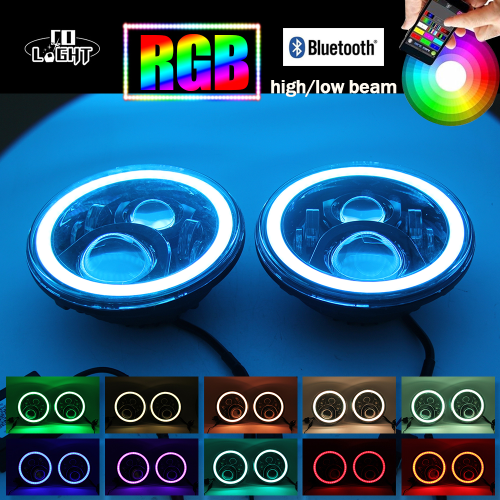 RGB Angel Eyes LED Headlight 7 Round Offroad Lights H4 Hi/Lo Beam DRL Bluetooth Phone App for Lada Niva Jeep Wrangler 1 pair 7 inch 78w cree chips h4 hi lo led headlight lamp angel eye drl bulb for jeep wrangler offroad