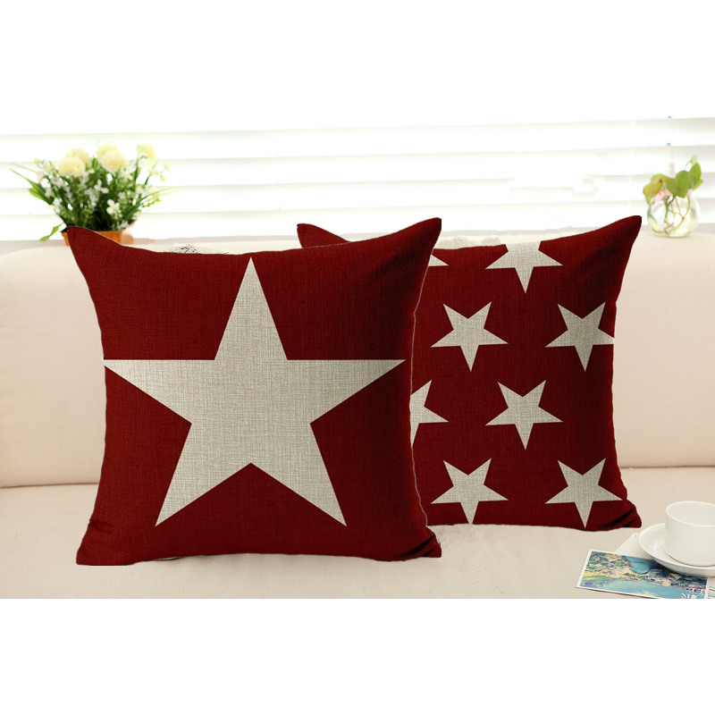 Throw Pillows With Washable Covers : ?Star Pillowcase Cotton Linen Cushion ?(^ ^)? Cover Cover Sofa Chair Seat Removable ? and and ...