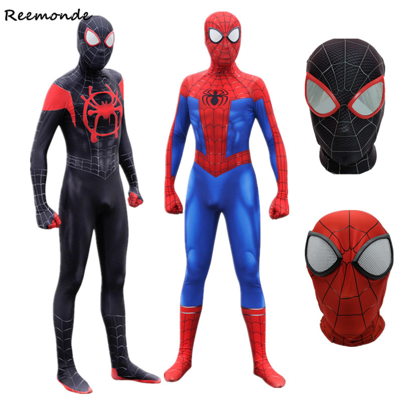 Adult Men Spider Peter Parker Miles Morales Cosplay Costumes Zentai Iron  Superhero Bodysuits Jumpsuits For Boys