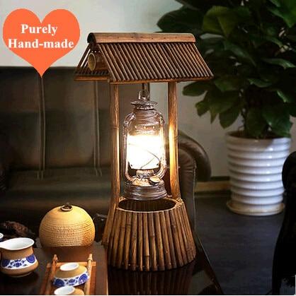 Американский Сельский оригинальный чисто ручной бамбука Art Настольные лампы Южной Азии античный дизайн лампы для студии и узкий стол ldk017