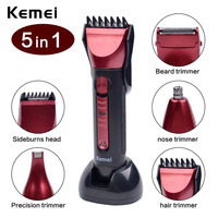 2016 Kemei New 5 In 1 Washable Electric Shaver Razor Multifunctional Hair Clipper For Hair Beard