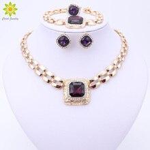 Африканские бусы Ювелирные наборы для женщин платье аксессуары золотой цвет кристалл свадебное ожерелье серьги браслет кольцо наборы