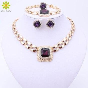 Afrika Manik-manik Perhiasan Set untuk Wanita Gaun Aksesoris Warna Emas Kristal Pernikahan Bridal Kalung Anting-Anting Gelang Cincin Set
