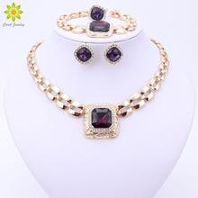 Conjunto de joyas africanas con cuentas para mujer, accesorios de vestir, Color dorado, collar de boda, pendientes, pulsera, anillo