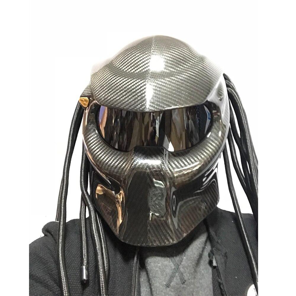 Chevalier prédateur fibre de carbone casque moto intégral Iron Man casque DOT Certification sécurité tresses frangées noir