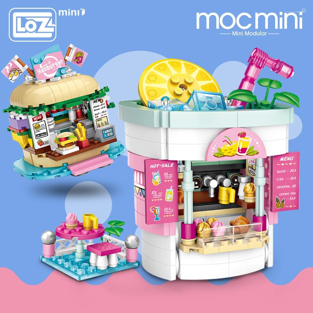 LOZ Mini Blocks Amusement Park Drinks Shop Burger Shop Model Amusement Blocks Kid Gift Plastic Building Blocks Toys Children