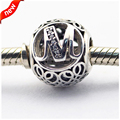 Fits Pandora Bracelets Vintage M Silver Beads with Clear CZ 100% 925 Sterling Silver Charms DIY Jewelry 08LE015-M