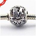 Se adapta a pandora pulseras vintage m granos de plata con clear cz 100% plata de ley 925 encantos de la joyería diy 08le015-m
