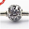 Serve para pandora pulseiras do vintage m contas com limpar cz 100% de prata esterlina 925 encantos de prata diy jóias 08le015-m