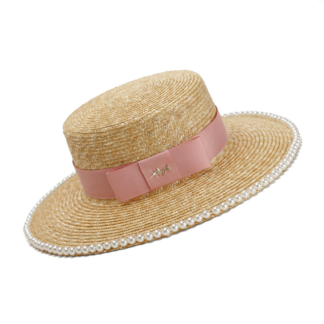 f9eb416f284a3 3pcs Luxury Pearls Pink Band Boater Straw Hats for Spring Summer Women  Nature Wheat Straw Hat NEW Lady Beach Sun Caps Wholesale
