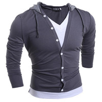 2017 New Style Men S Fashion Wild Hooded Button V Neck Long Sleeved T Shirt Boy