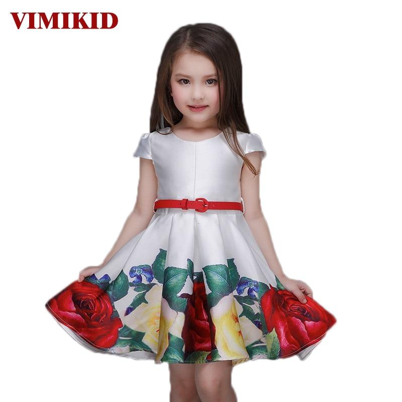 VIKIMID 2017 Princess Girls Floral Dresses Summer Baby girl Rose Flower Pattern Dress Kids Children Party