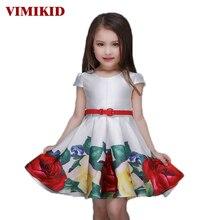 VIKIMID 2017 Princesse Filles Floral Robes D'été Bébé fille Rose Robe De Modèle De Fleur Enfants Enfants Parti robes pour les filles