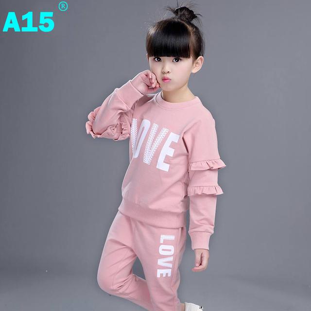A15 roupa das crianças terno esportes das meninas crianças 2017 primavera outono Camisolas de treino Calças Roupas Da Menina Da Criança 5 Anos de Idade 8 10 ano