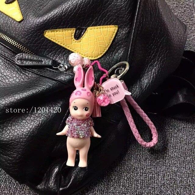 2016 new bunny bag pendant crystal girl shape bag charms PVC bunny Cartoon key chains pink leather lanyard for keys purse charms