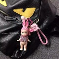 2016 nueva bolsa de conejo colgante de la muchacha cristalina forma encantos del bolso DEL PVC conejito de la Historieta llaveros rosa cordón de cuero para llaves encantos del monedero