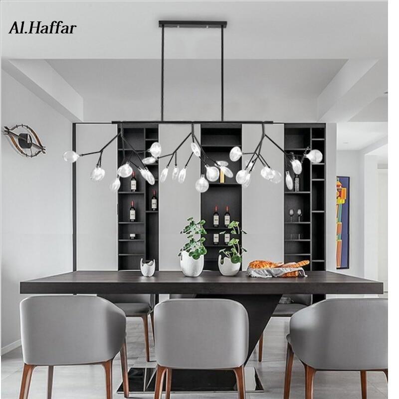 LED moderne nouveau créatif pendentif lumières firfly noir or rectangle pendentif lampe pour salle à manger cuisine