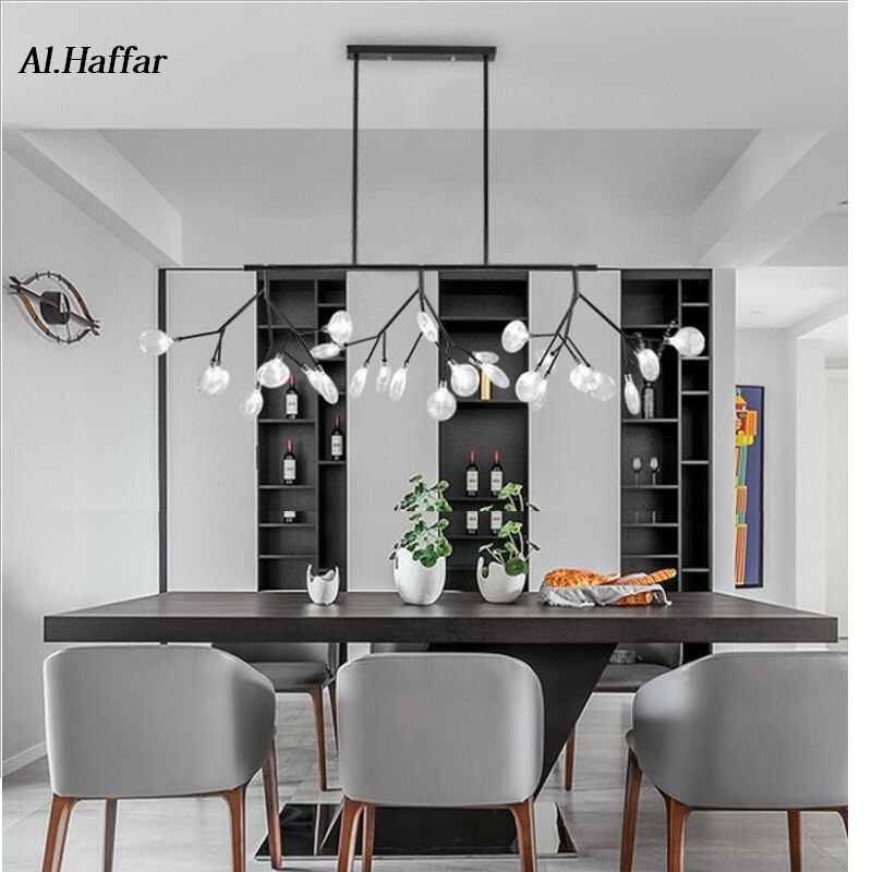 Modern LED New Creative Pendant Lights Firfly Black Gold Rectangle Pendant Lamp For Dinning Room Kitchen