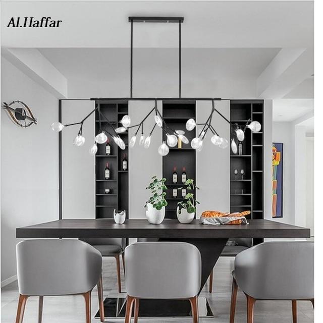 Moderno led novas luzes pingente criativo firfly preto ouro retângulo pingente lâmpada para sala de jantar cozinha