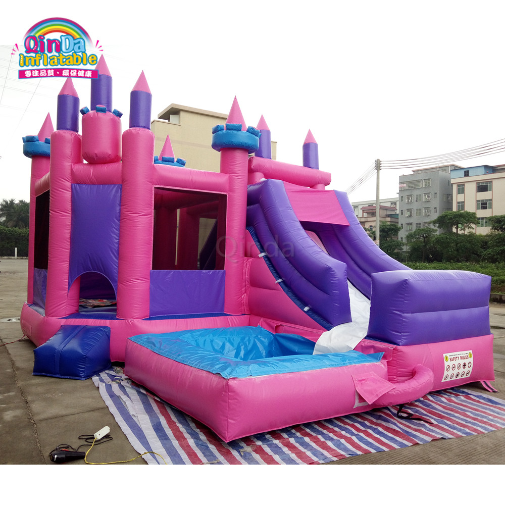 Inflatable jumping bed/inflatable bouncer with slide,set trampolines slide for kids and adults 2017 popular inflatable water slide and pool for kids and adults