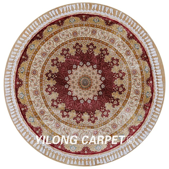 Yilong 5.6u0027x5.6u0027 Oriental Carpets Online Exquisite Red Hand Knotted Persian  Round