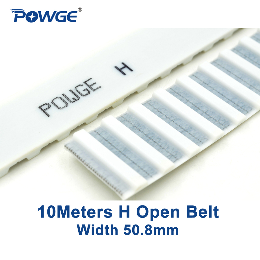 POWGE 10Meters Trapezoid H synchronous belt H-50.8 Width 50.8mm Pitch 12.7mm PU H open timing belt Polyurethane steel
