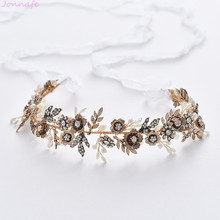 Jonnafe Antique Gold Flower Bridal Headpiece Leaf Headband Wedding Tiara Hair Vine Accessories Handmade Women Hair Jewelry