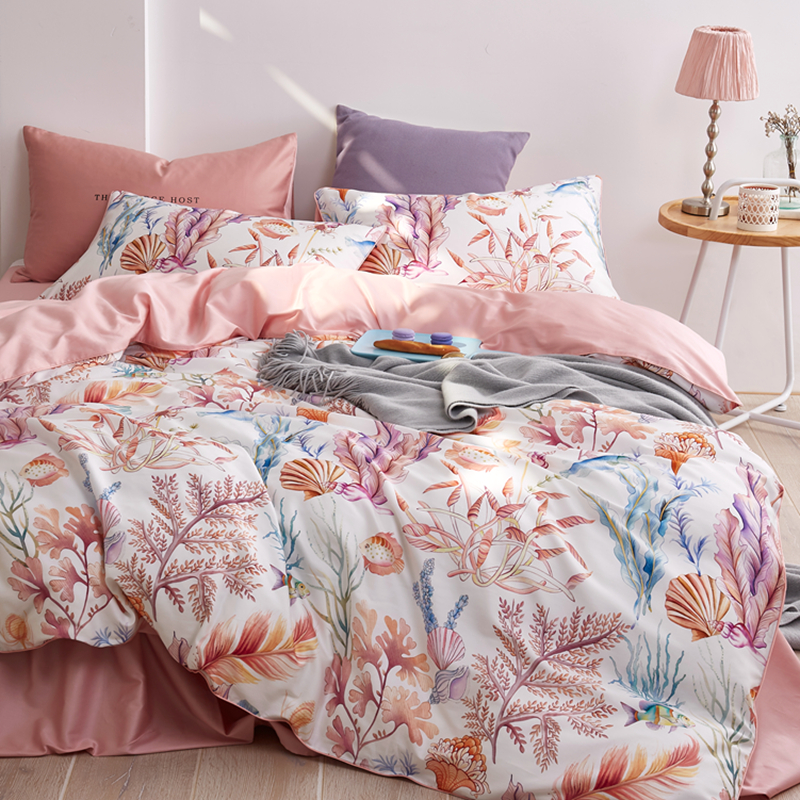 60S Egyptian cotton ocean series bedding sets 4pcs satin bed linen percale duvet cover set luxury bed sheets pillowcases #s