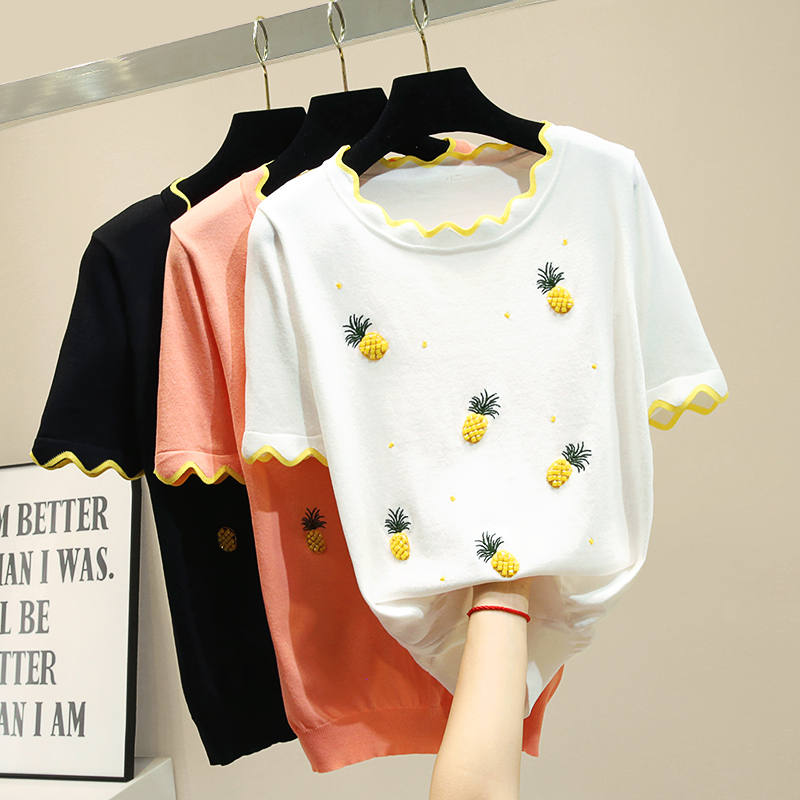 2019 nouveau printemps été all-match à manches courtes tricoté T-shirts pour femmes O cou ananas diamant broderie pulls haut