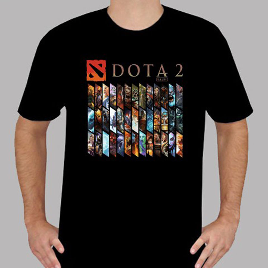 New DOTA 2 Heroes Famous Online Game Mens Black T-Shirt Size S to 3XL