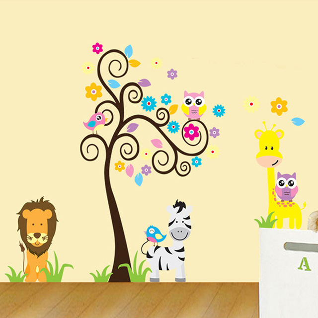 Animal Giraffe Owl Tree Cartoon Baby Kids Children Home Decoration ...