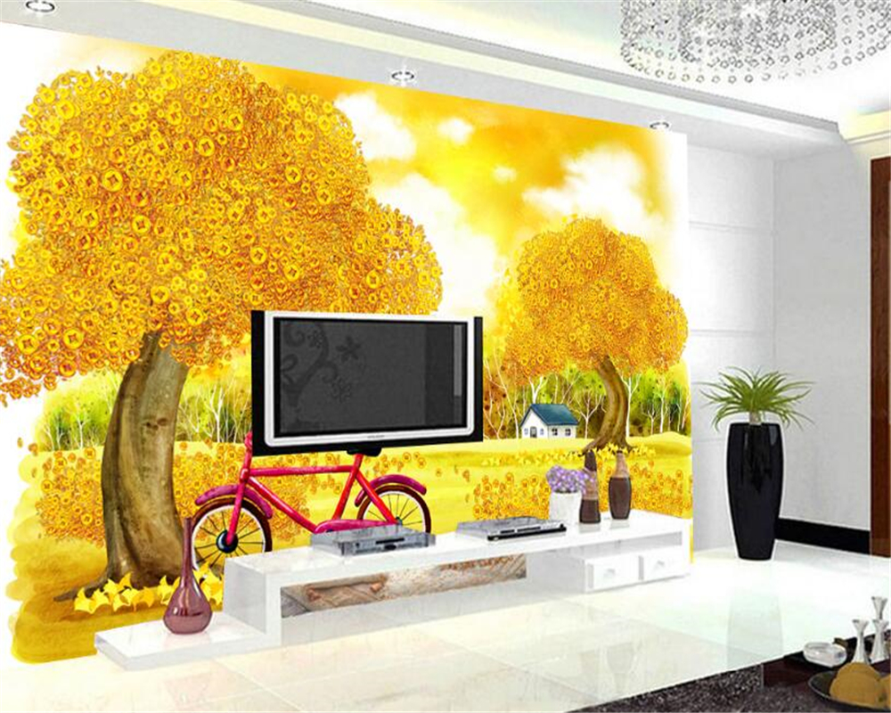 beibehang golden autumn wallpaper decoration aesthetic landscape background wall rich tree papel de parede 3d wallpaper tapety