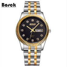 Mens Watch Top Brand Luxury BOSCK Casual Quartz Watch Waterproof Business Watches Stainless steel relogio masculino relojes 3012