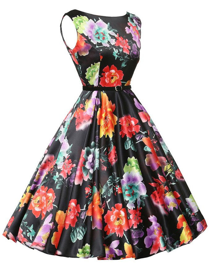 Big  Flower Print New Vintage Hepburn Style Wrapped in Chest Print Square Collar Slim Body Big Pendant Dress Factory