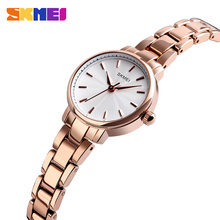 SKMEI zegarek kwarcowy kobiety moda damska zegarki na rękę wodoodporna stal nierdzewna kobiety zegarki luksusowe Montre Femme 1410