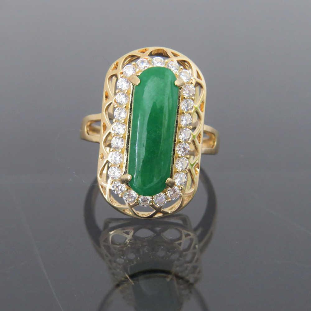 14K สีเหลืองทองแหวน Super White Moissanite งานแต่งงานแหวนหมั้นแหวนสำหรับเครื่องประดับ