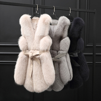 Real Fur Vest Women Fox Fur Vest 2018 New Arrival Winter Fluffy Natural Fur Gelit Outwear rf0251