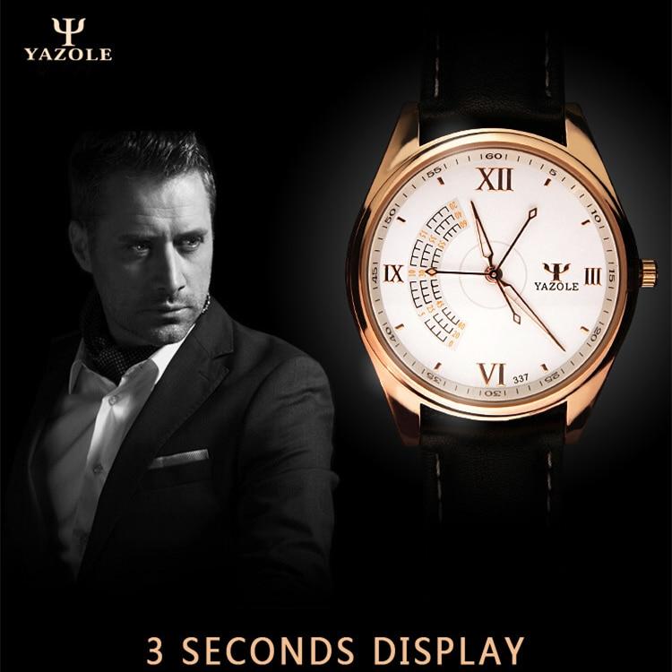 YAZOLE Men 39 s Fashion Sport Stainless Steel Case Leather Band Quartz Analog Wrist Watch mens watches top brand luxury Wristwatch in Quartz Watches from Watches
