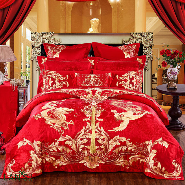 2018 Luxury Gold Dragon Embroidery Jacquard 10pcs Bedding Sets 100 Cotton Red Duvet Cover Bed