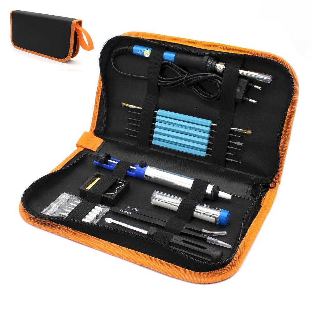 Enchufe europeo 220 V 60 W temperatura ajustable Kit de soldador eléctrico + 5 unids puntas herramienta de reparación de soldadura portátil pinzas Cable de soldadura