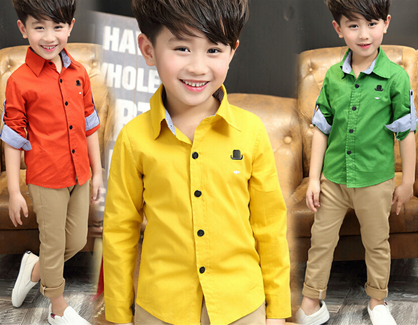 2018 spring children's clothes baby boy child solid long sleeve turn-down collar cotton shirts for boys kids causal shirt top slim fit turn down collar colored plaid lining solid color shirt for men
